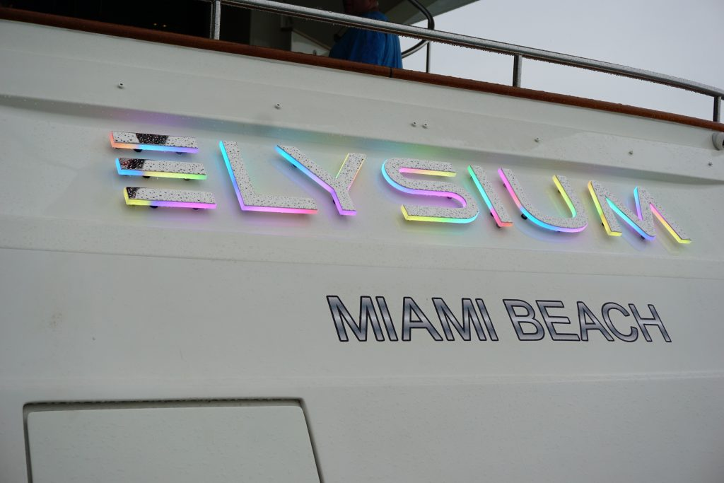 Yacht ELYSIUM lighted letters
