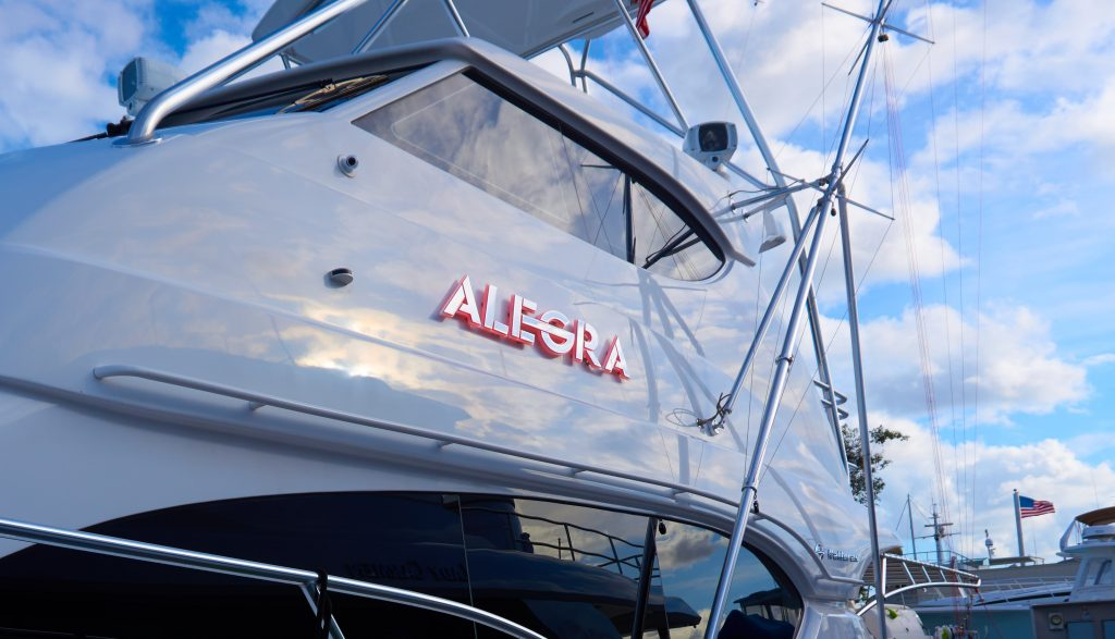 Yacht ALEGRA lighting up in red