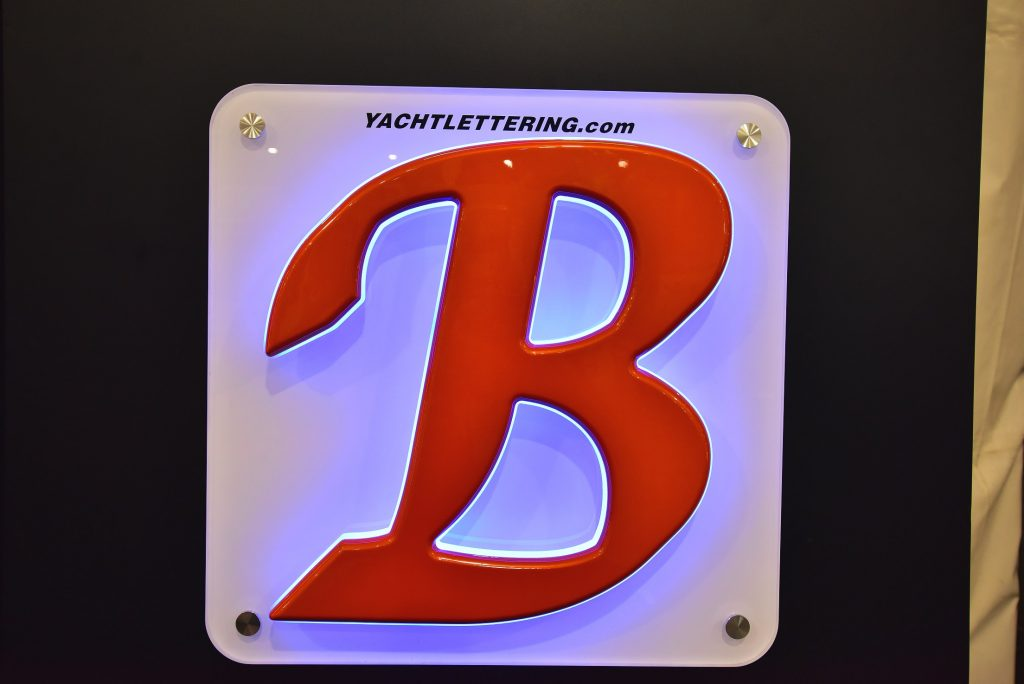 Letter B with a custom painted orange